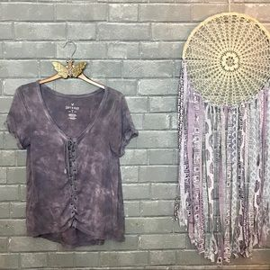 american eagle // lilac tie dye lace up knit tee s